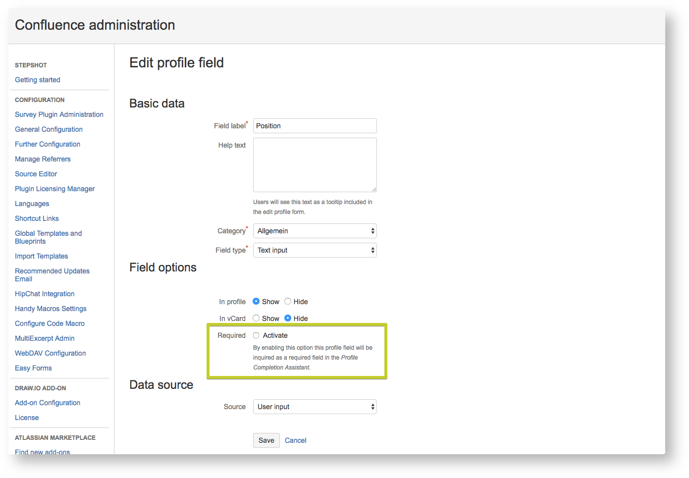 Set a user field required in the profile editor