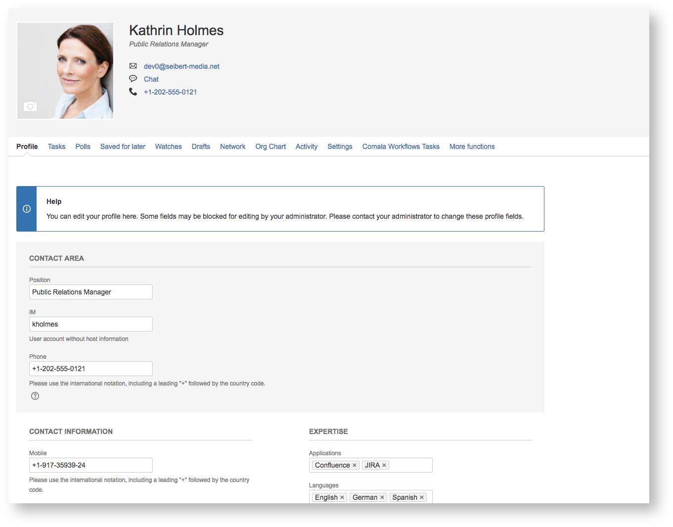 View of the user profile