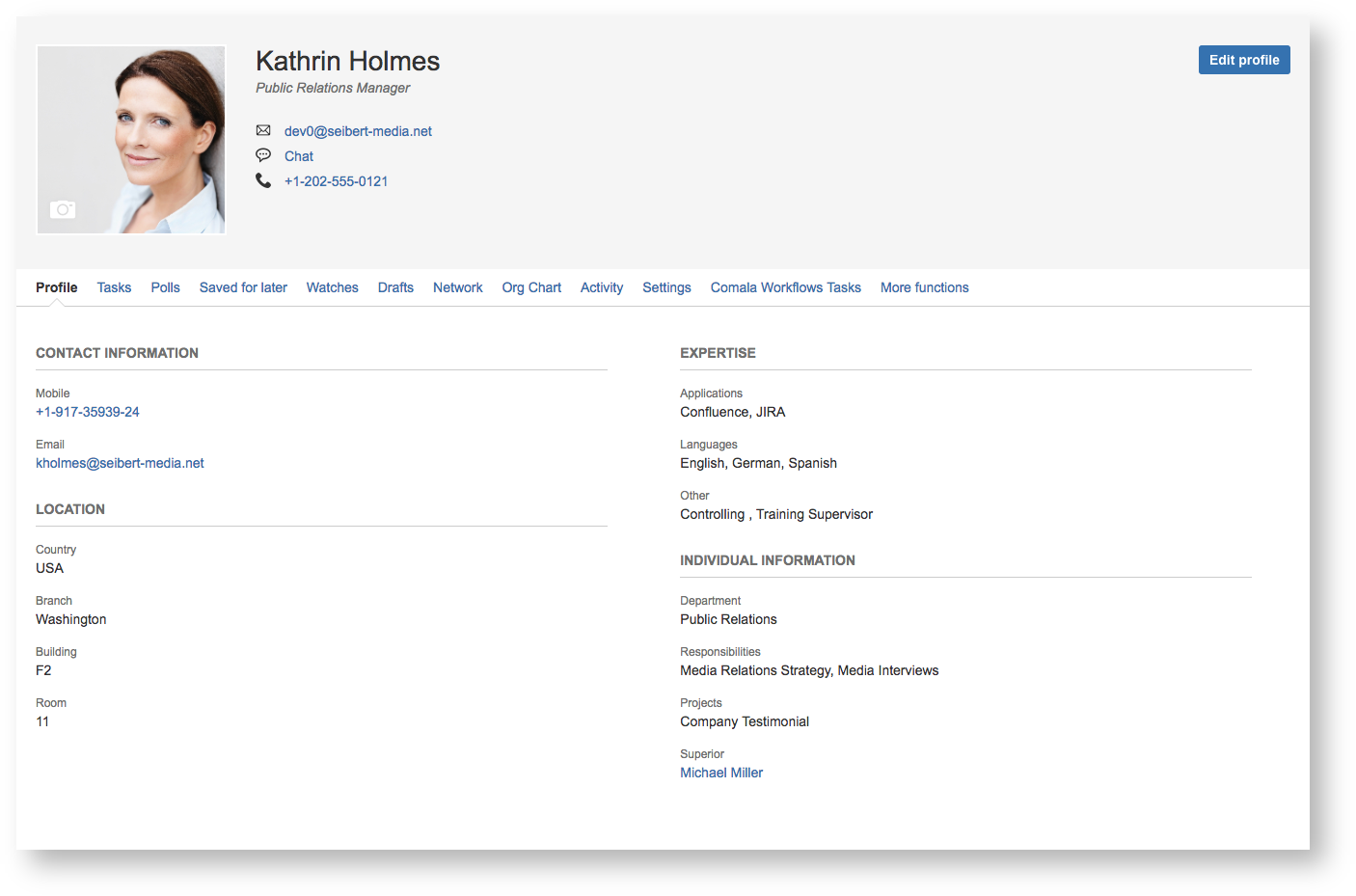 View of the Custom User Profile