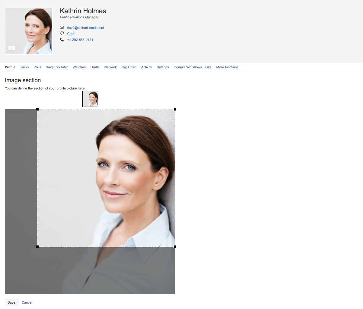 Selecting the profile picture area